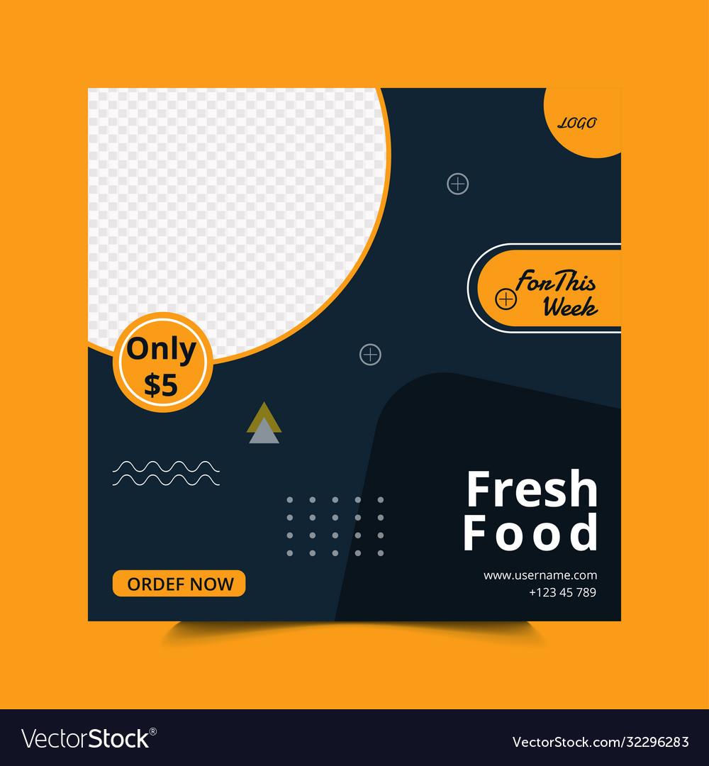 Social Media Post Template Design For Restaurant Vector Image