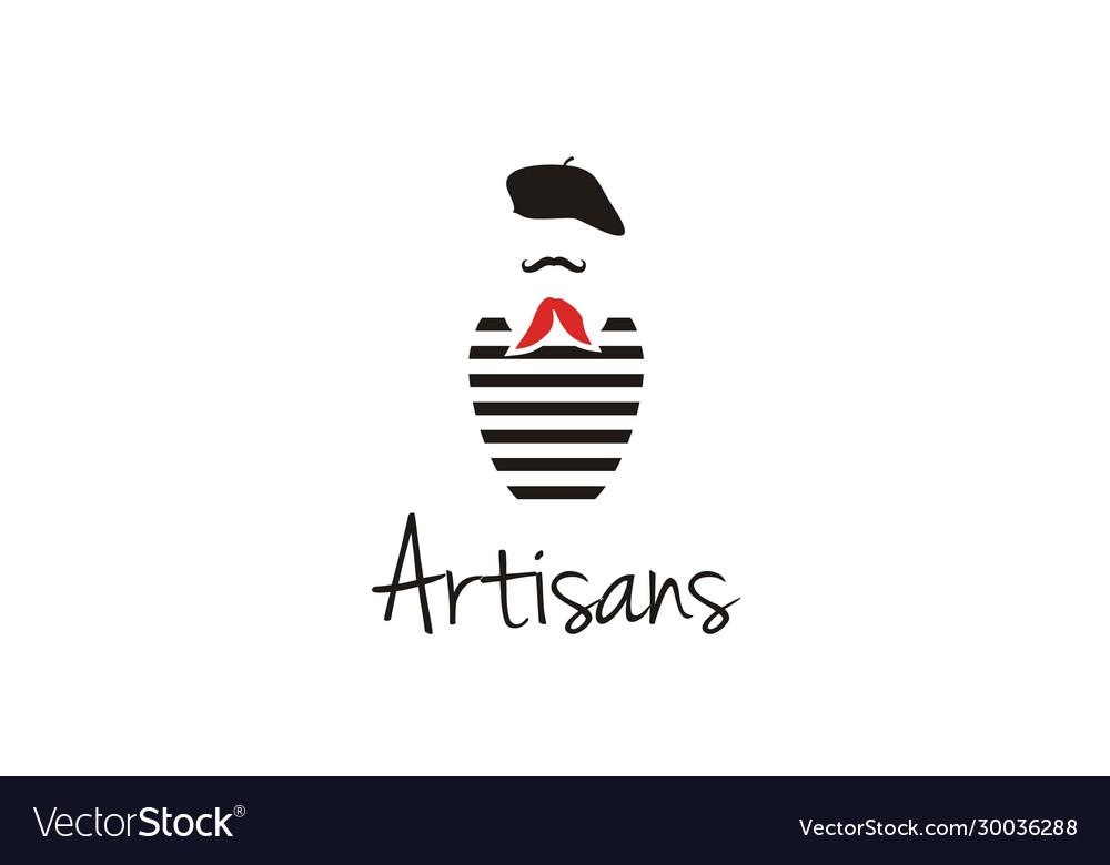 Artisans mustache france painter artist beret logo