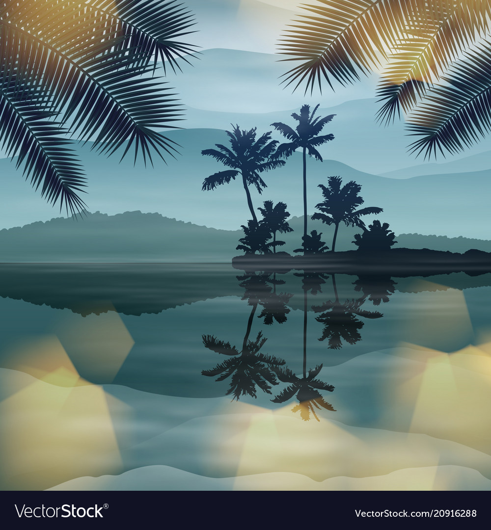 Background with sea and palm trees at night