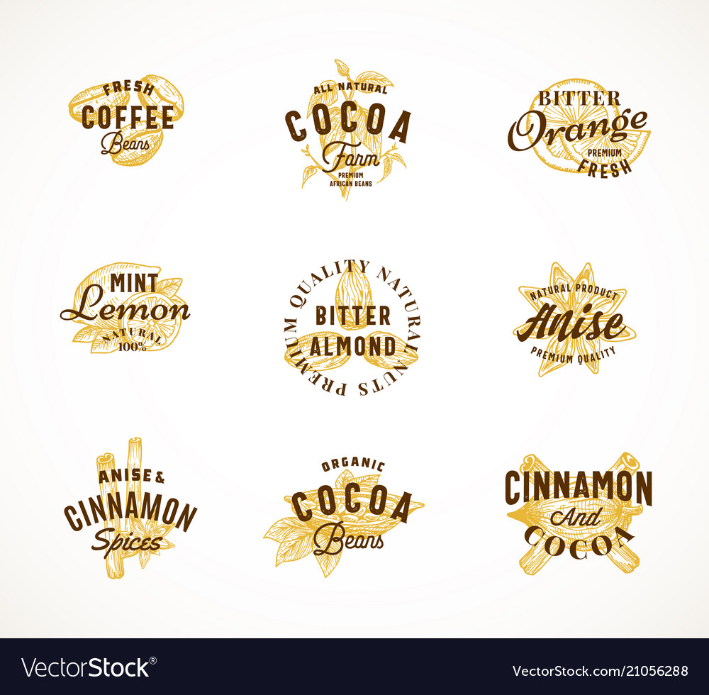Cocoa spices and coffee abstract sign
