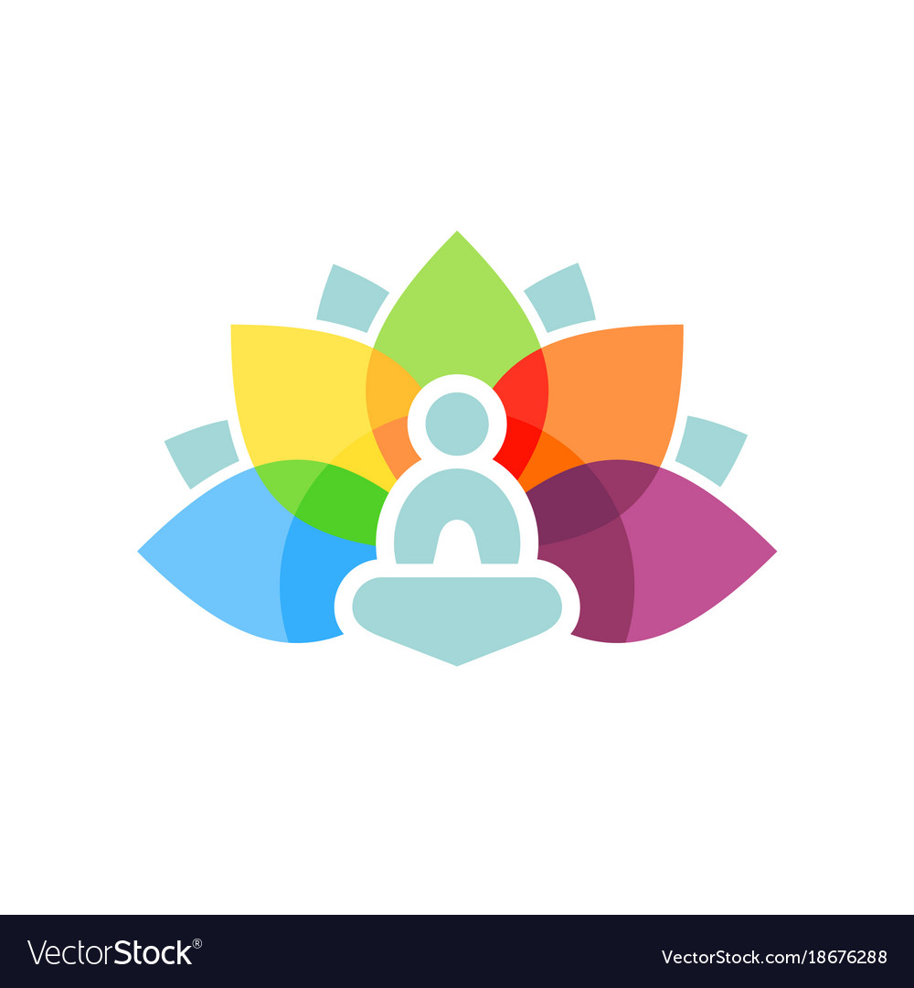 Colorful lotus aura yoga meditation