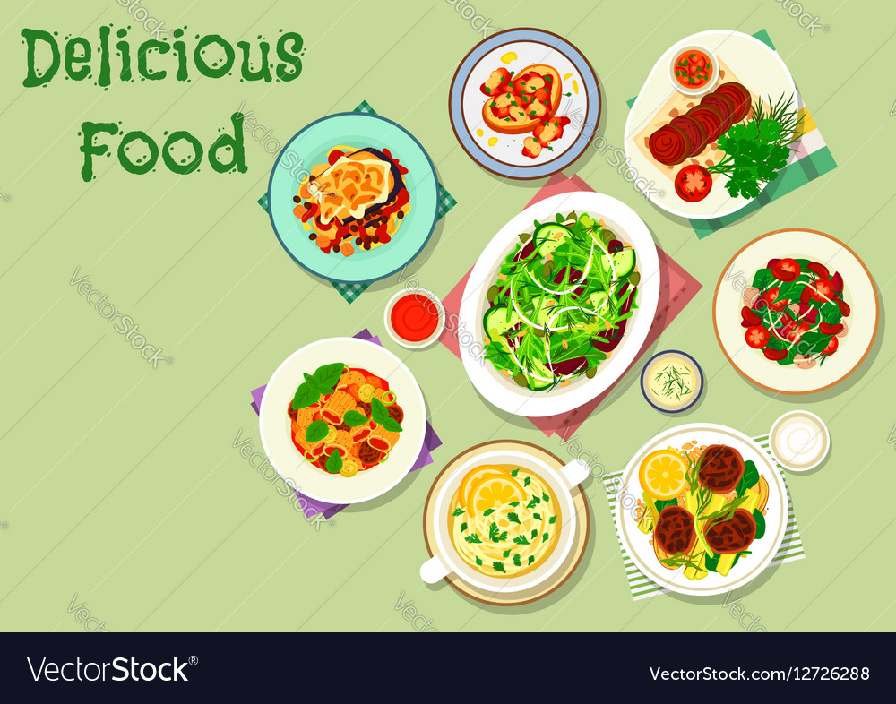 Comfort food for dinner menu icon design vector image