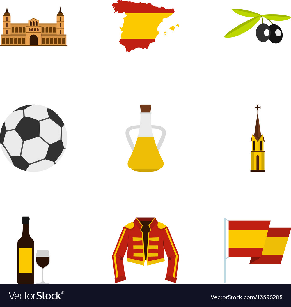 Culture features of spain icons set flat style