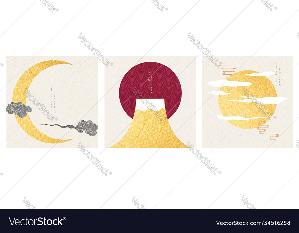 Japanese template with traditional elements moon