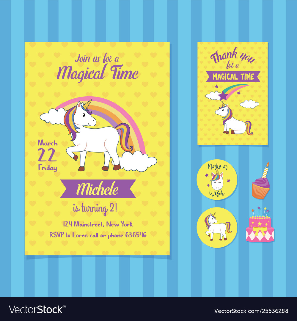 Magical Time Birthday Invitation Card Template
