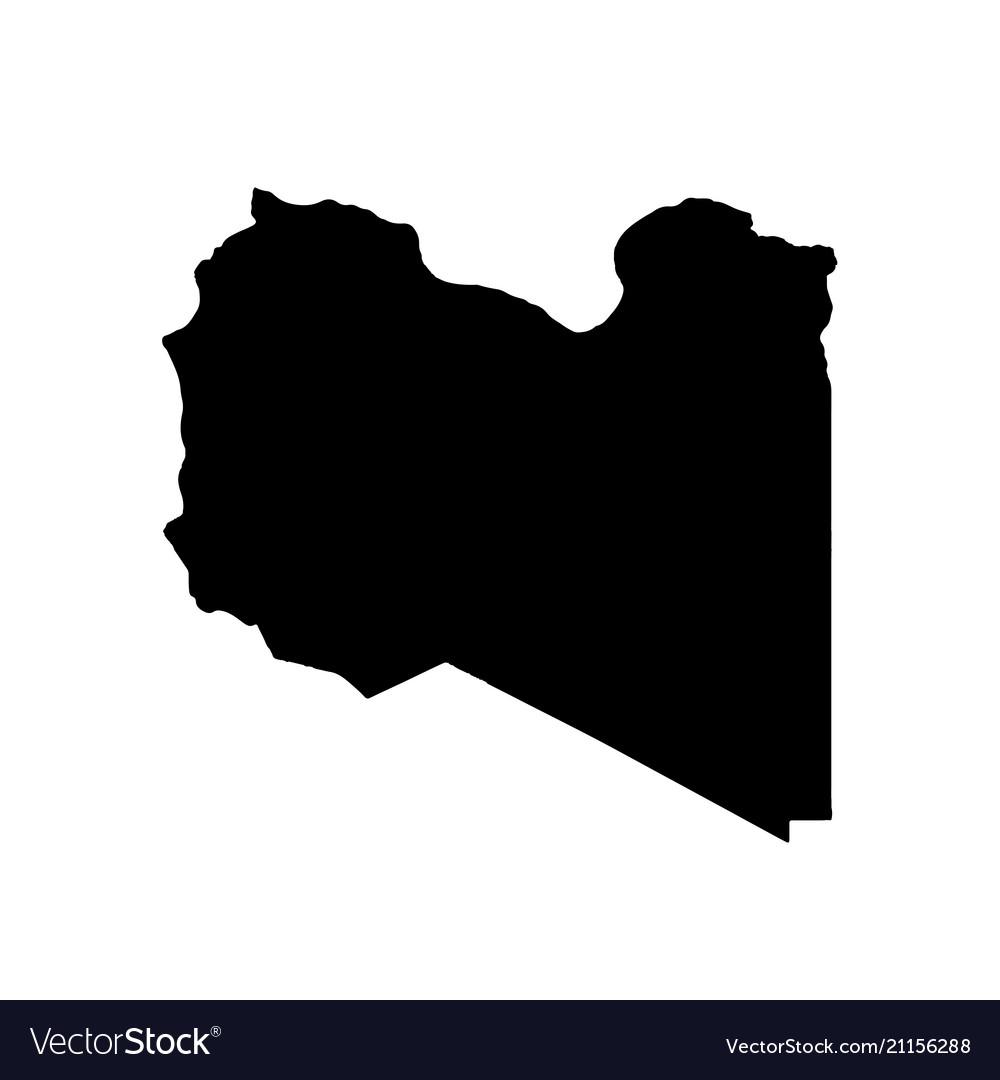 Map libya isolated black on
