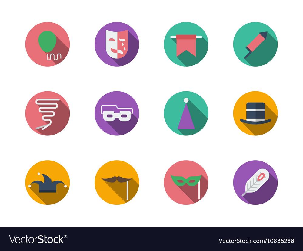 Masquerade accessories round color icons vector image