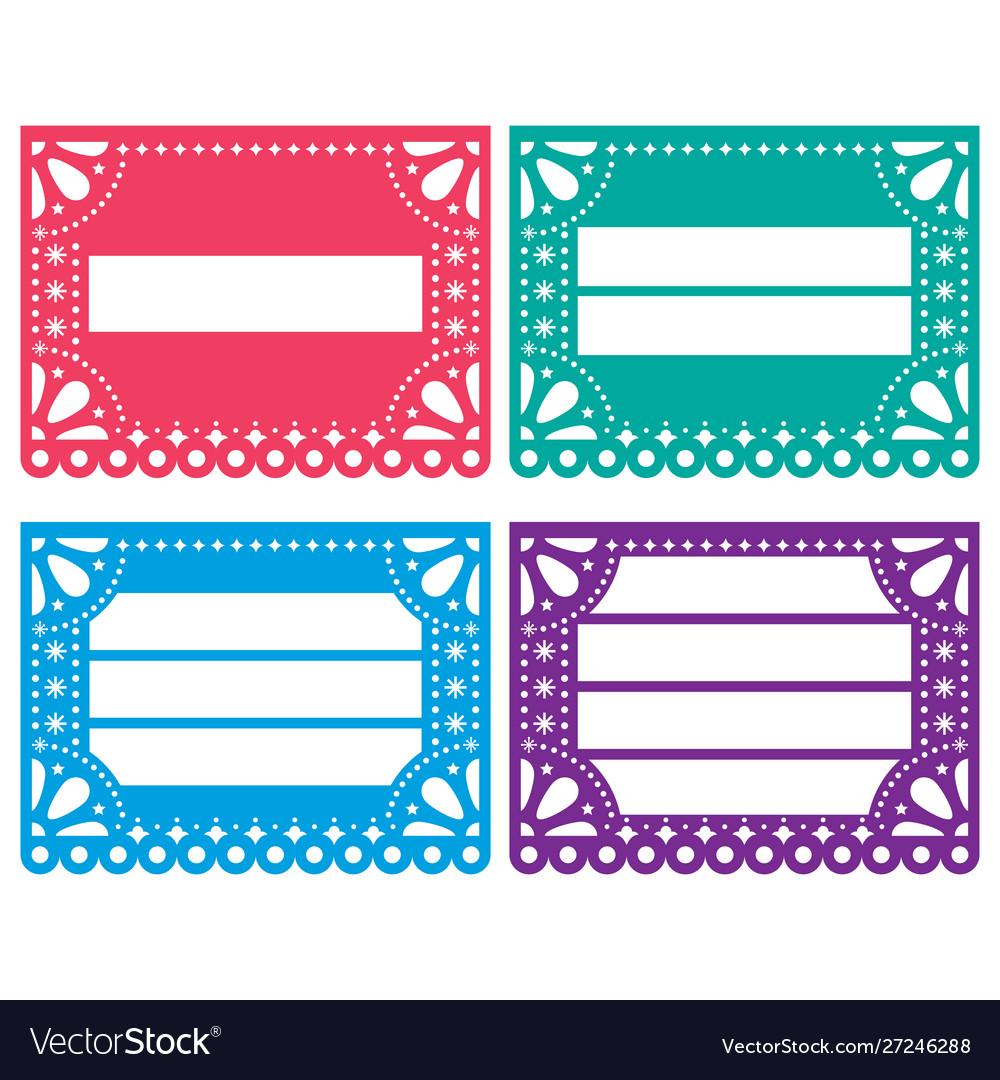 Papel picado design templates set - mexican