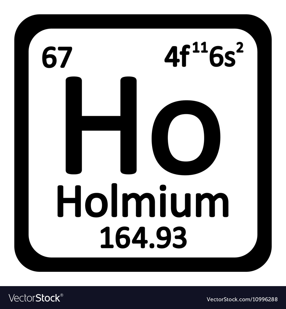 Periodic Table Element Holmium Icon Royalty Free Vector