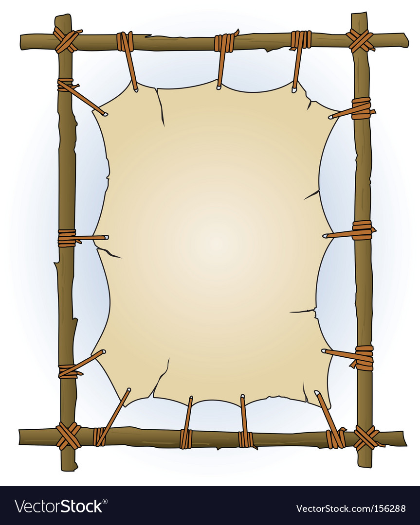 Primitive sticks and canvas frame vector image