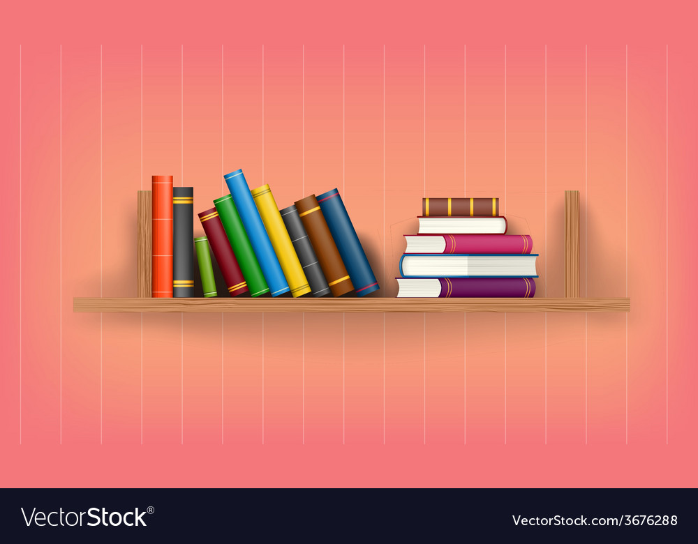 Row and stack of colorful books Royalty Free Vector Image
