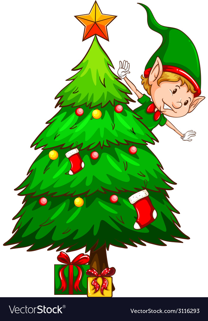 Christmas Tree Vector.A Coloured Sketch Of A Christmas Tree