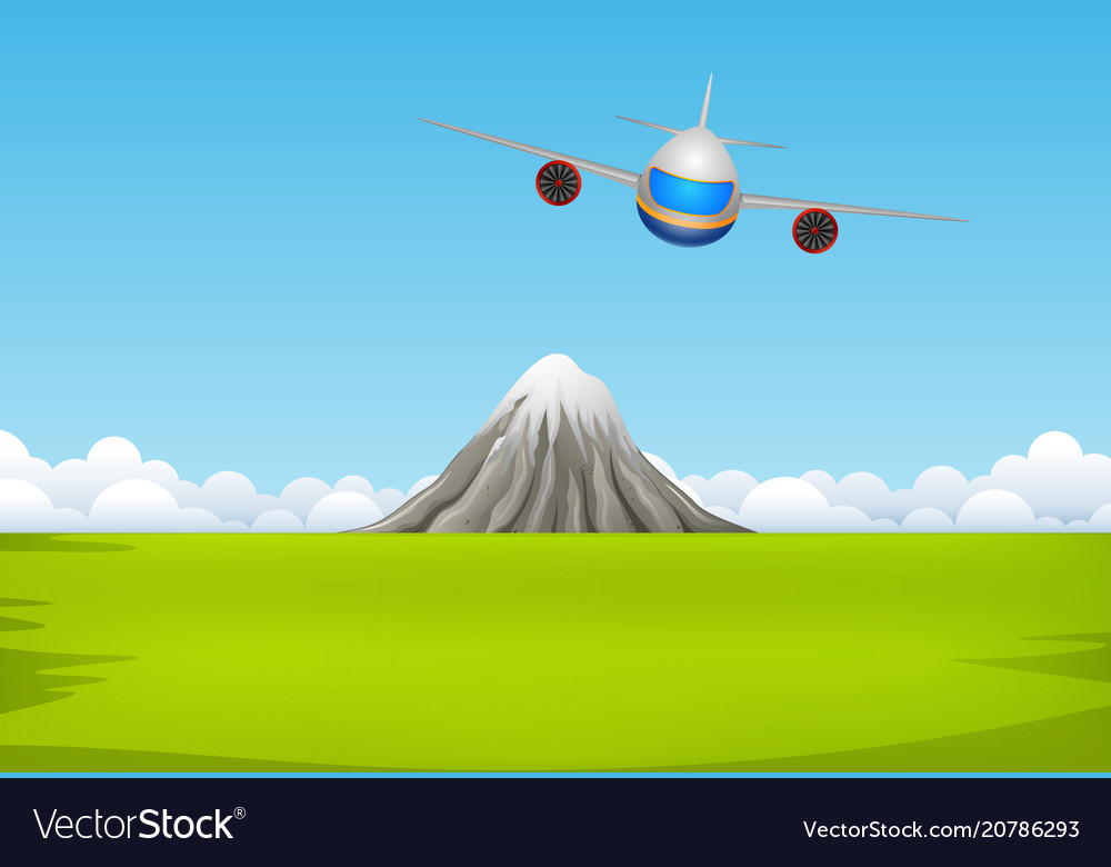 A commercial plane flying over mountain