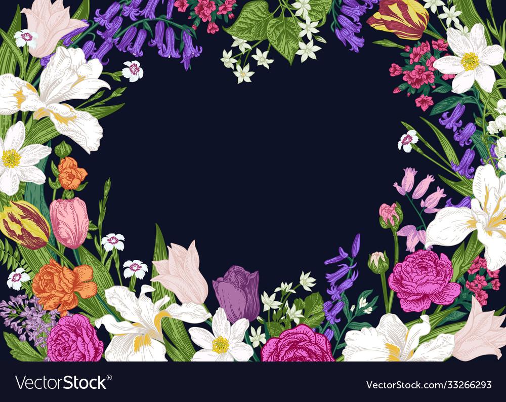 Floral horizontal frame