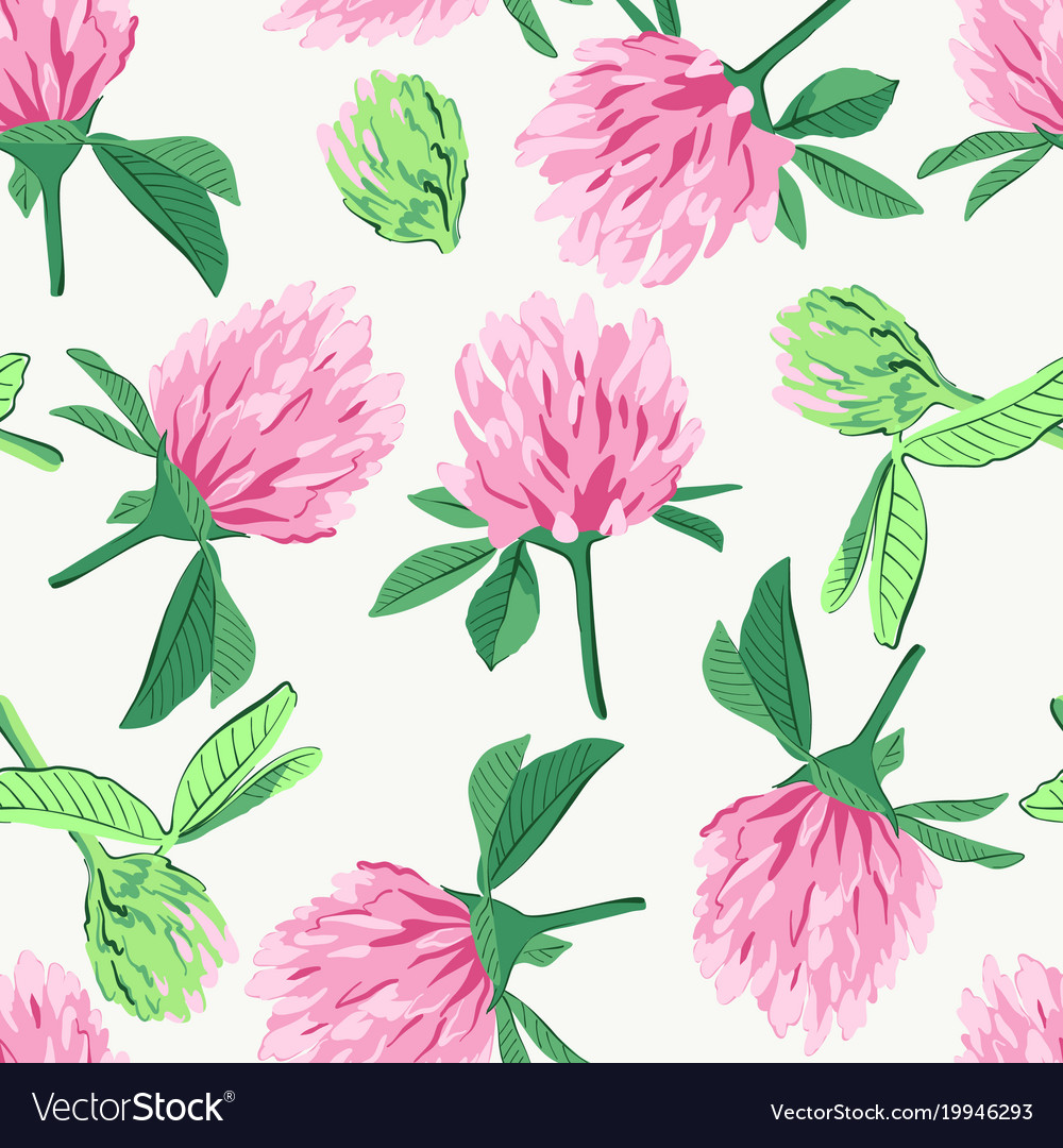 Floral Seamless Pattern With Red Clover Royalty Free Vector