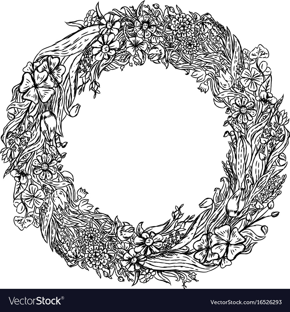 Hand drawn wreath flowers vintage sketch