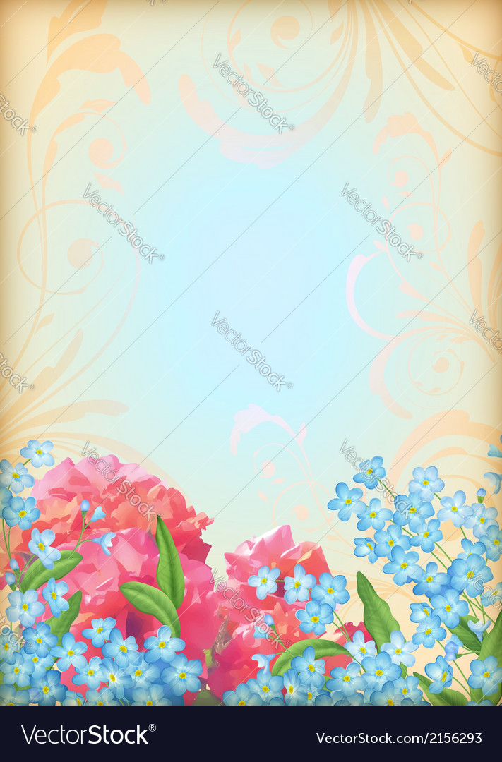 Romantic floral invitation design vector image