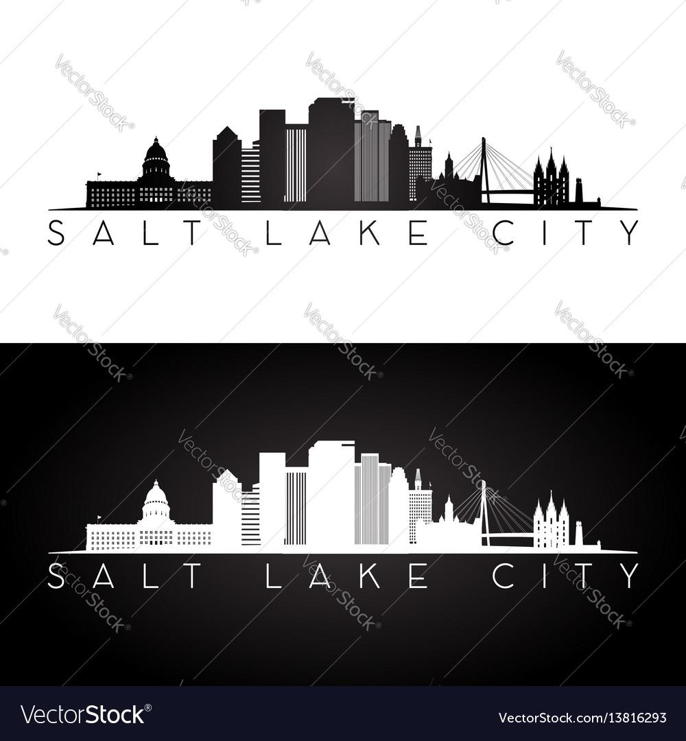 Salt lake city usa skyline and landmarks silhouett