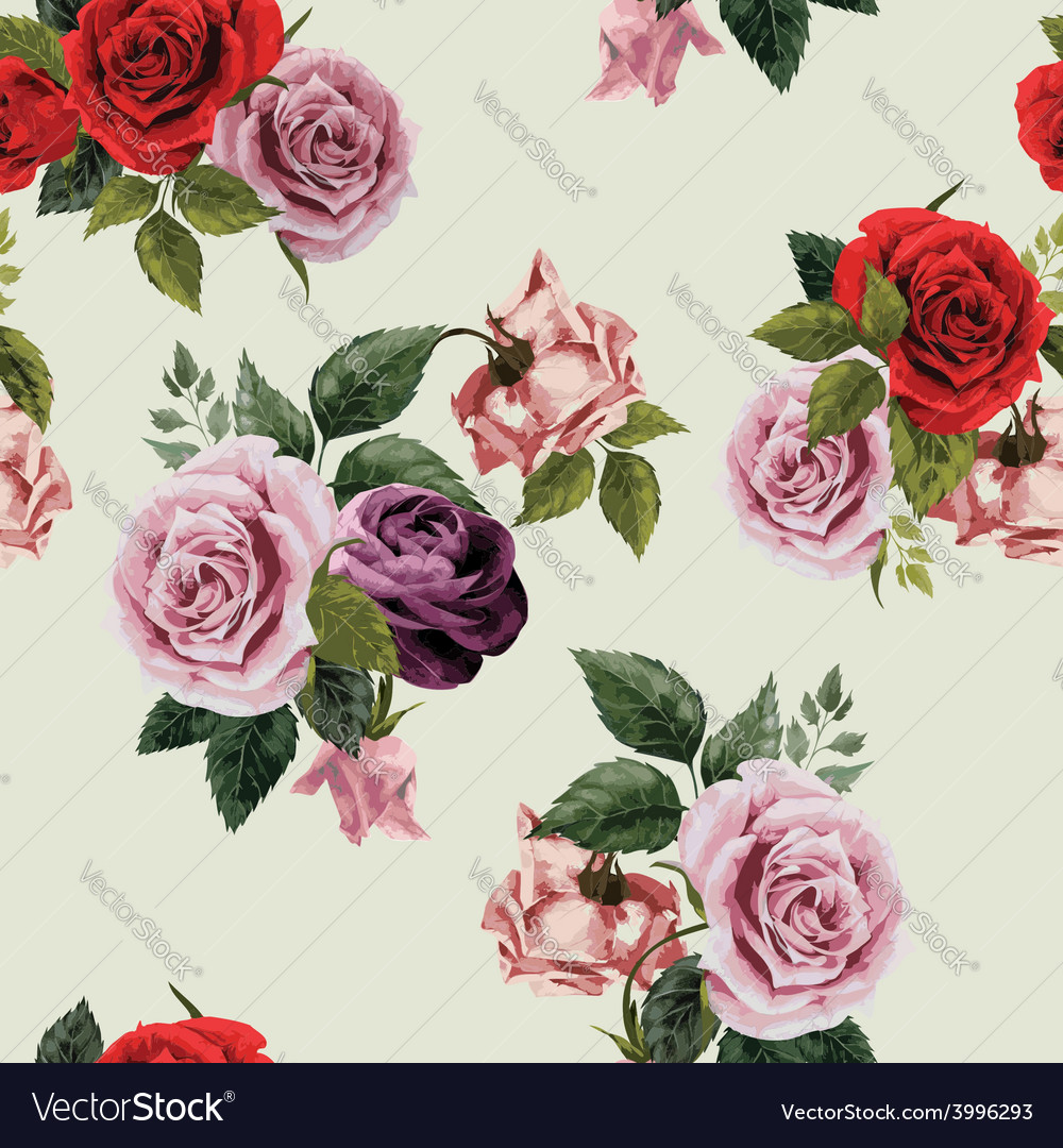 Seamless floral pattern with red purple and pink