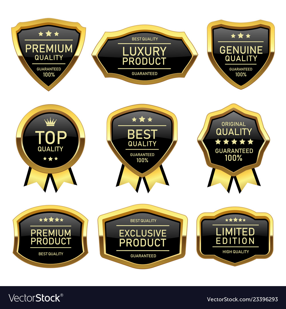 Set of badges labels quality product