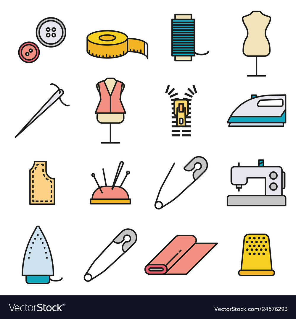 Sewing and needlework tool thin line icon set