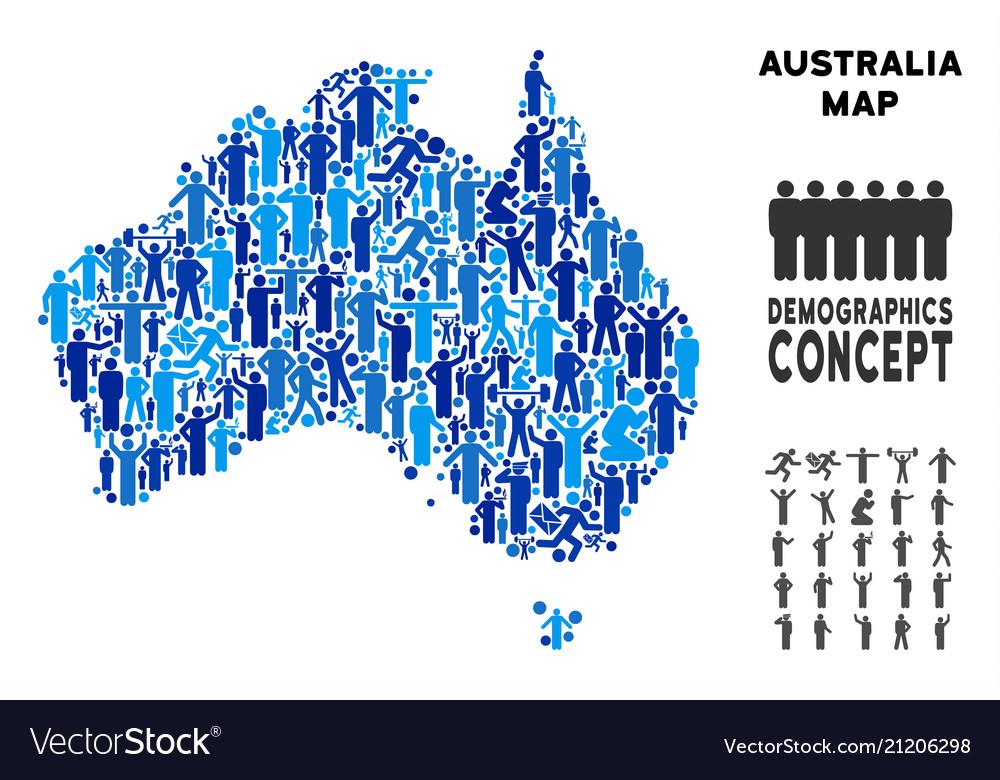 Demographics australia map Royalty Free Vector Image on
