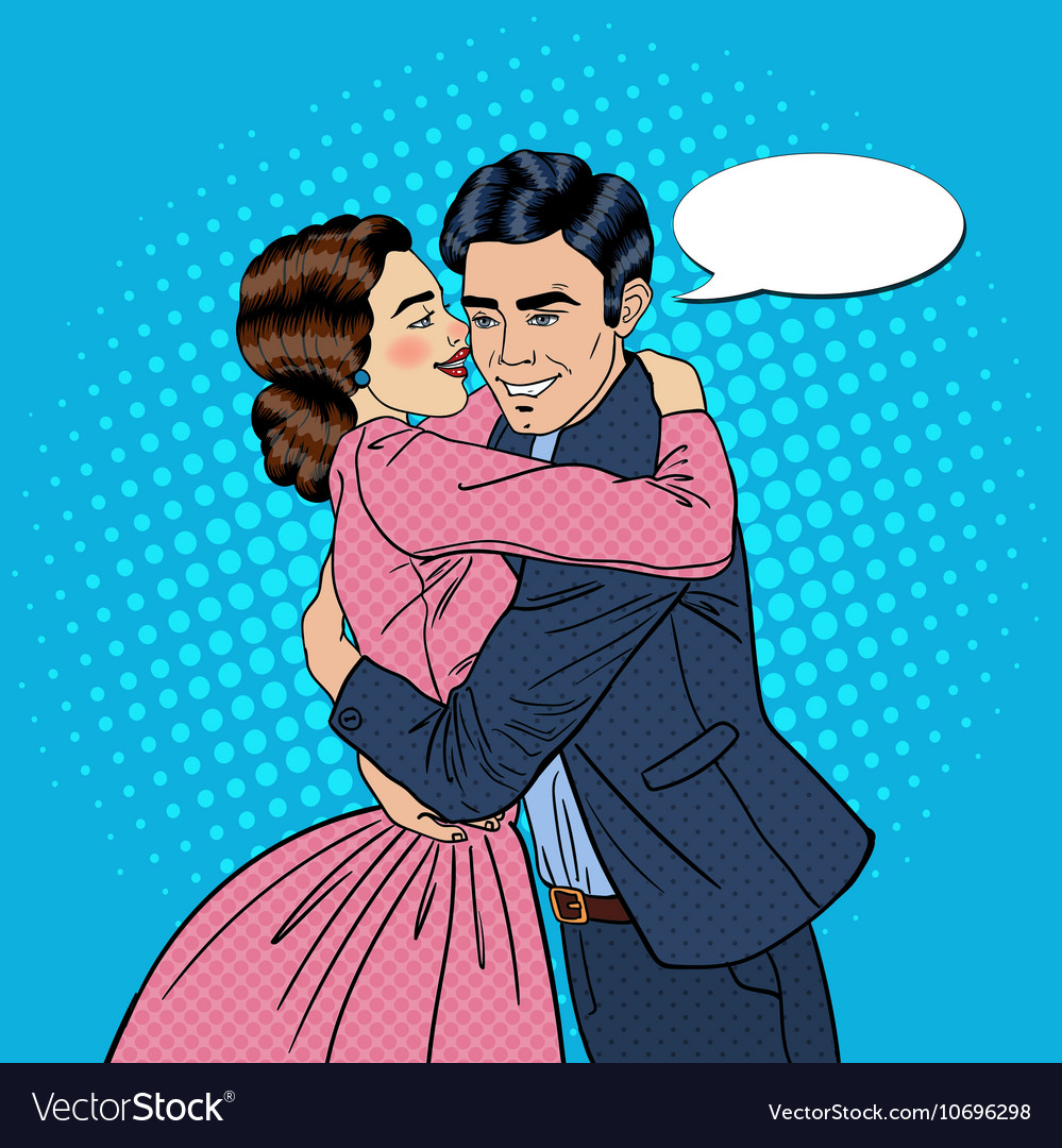 embracing young couple in love pop art royalty free vector