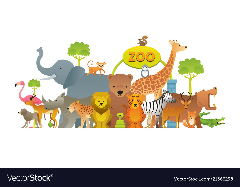 Group of wild animals zoo Royalty Free Vector Image
