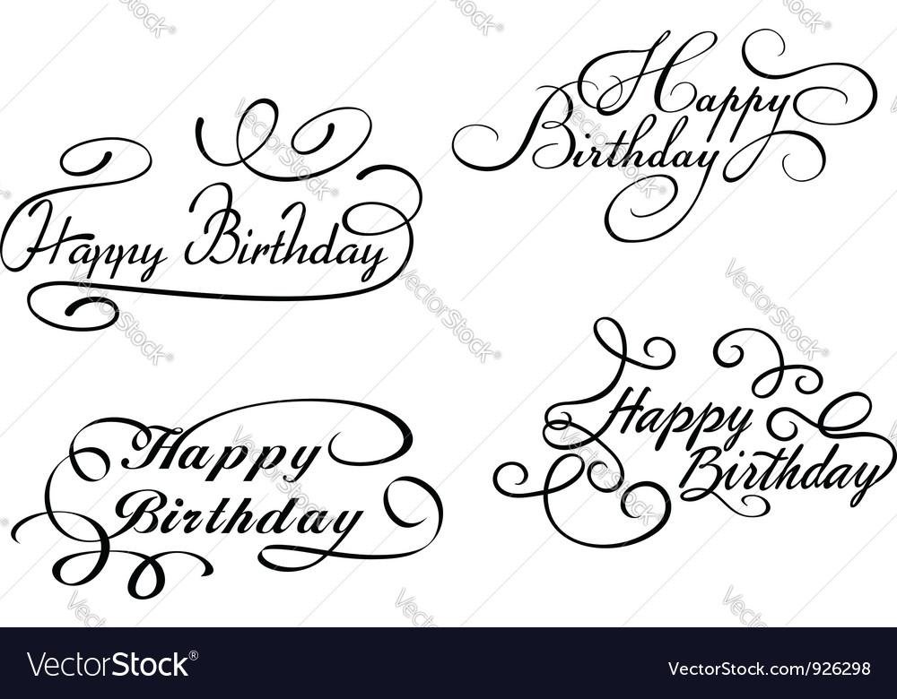 Happy birthday calligraphic embellishments vector image