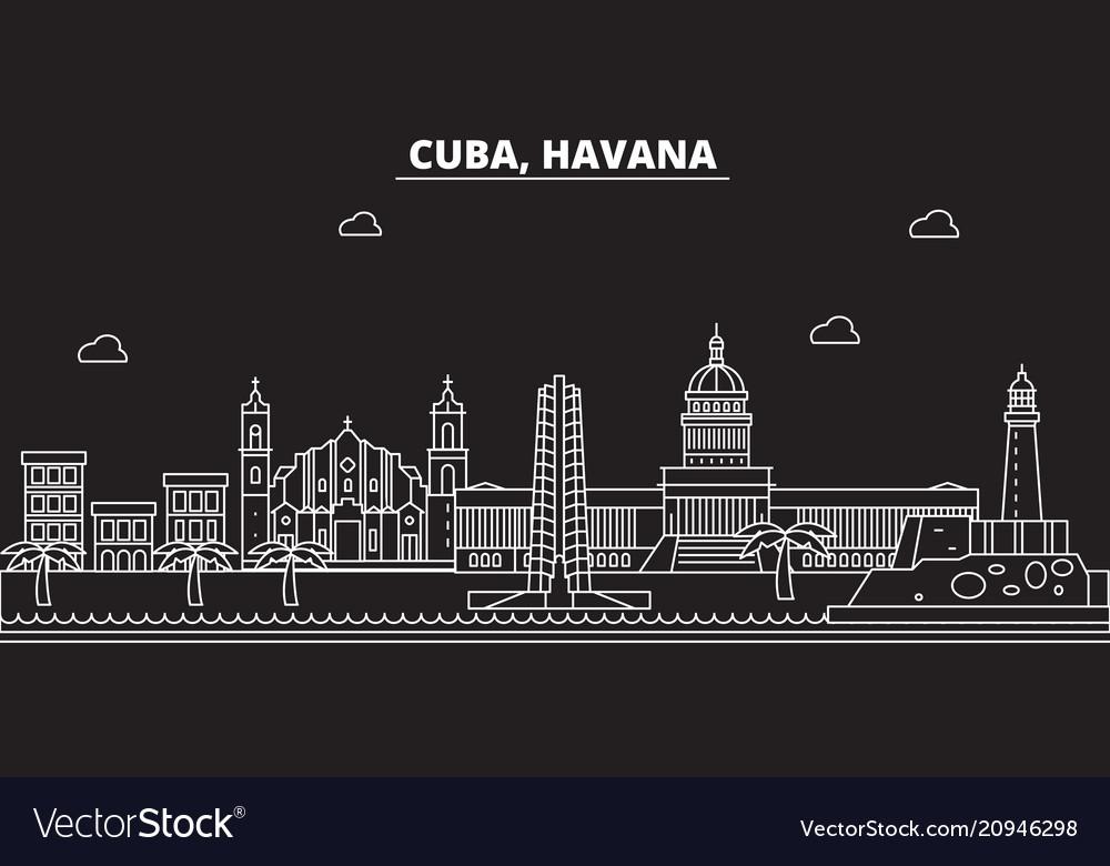 Havana silhouette skyline cuba - havana