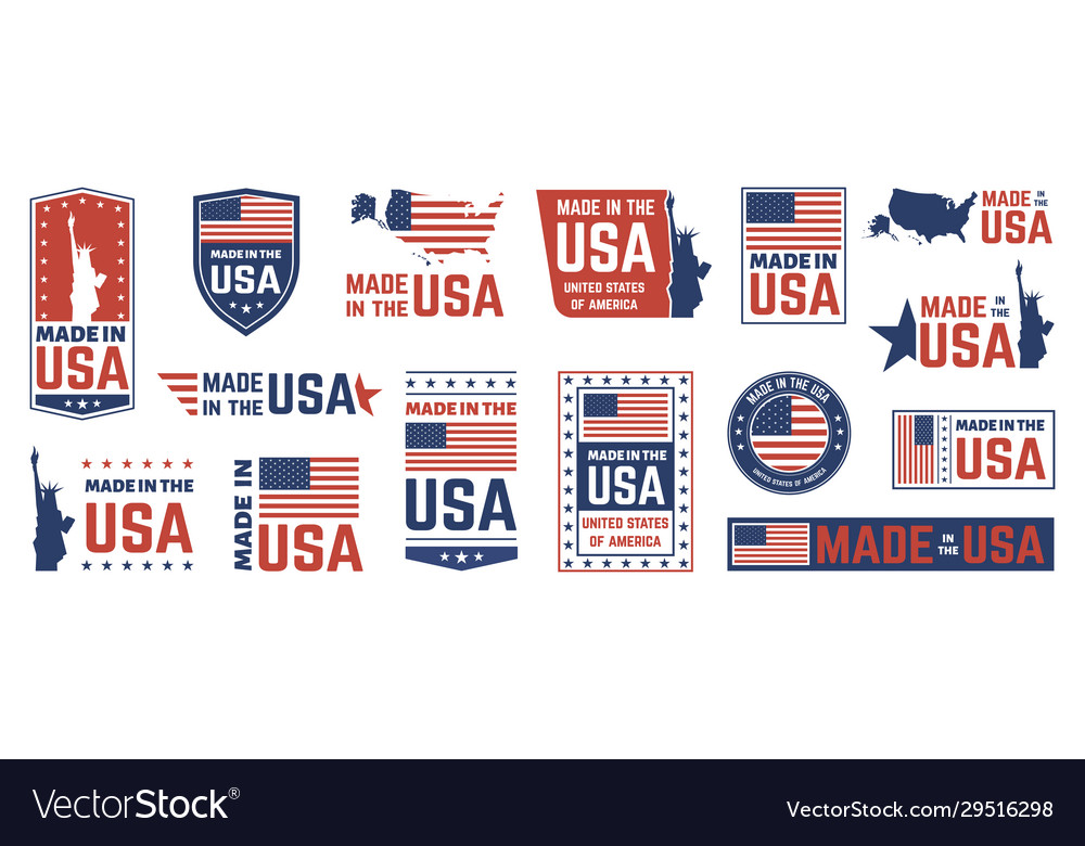 Made in usa label american flag emblem patriot