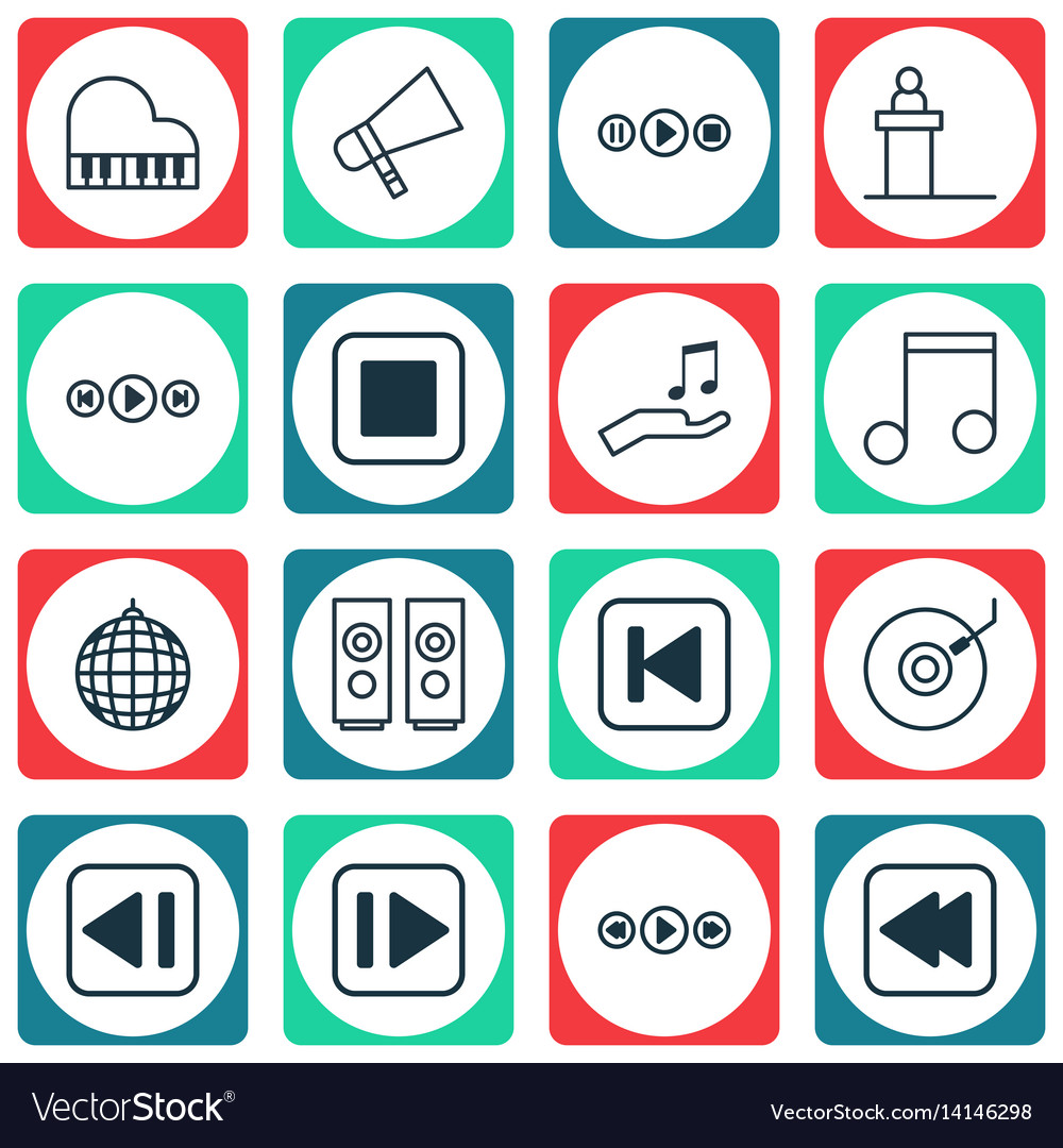 Set of 16 audio icons includes song ui octave