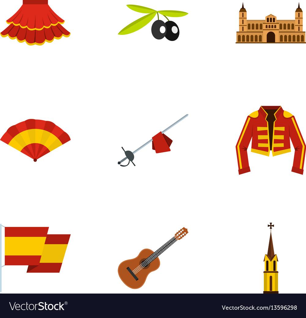 Admirable Spanish Elements Icons Set Flat Style Download Free Architecture Designs Fluibritishbridgeorg