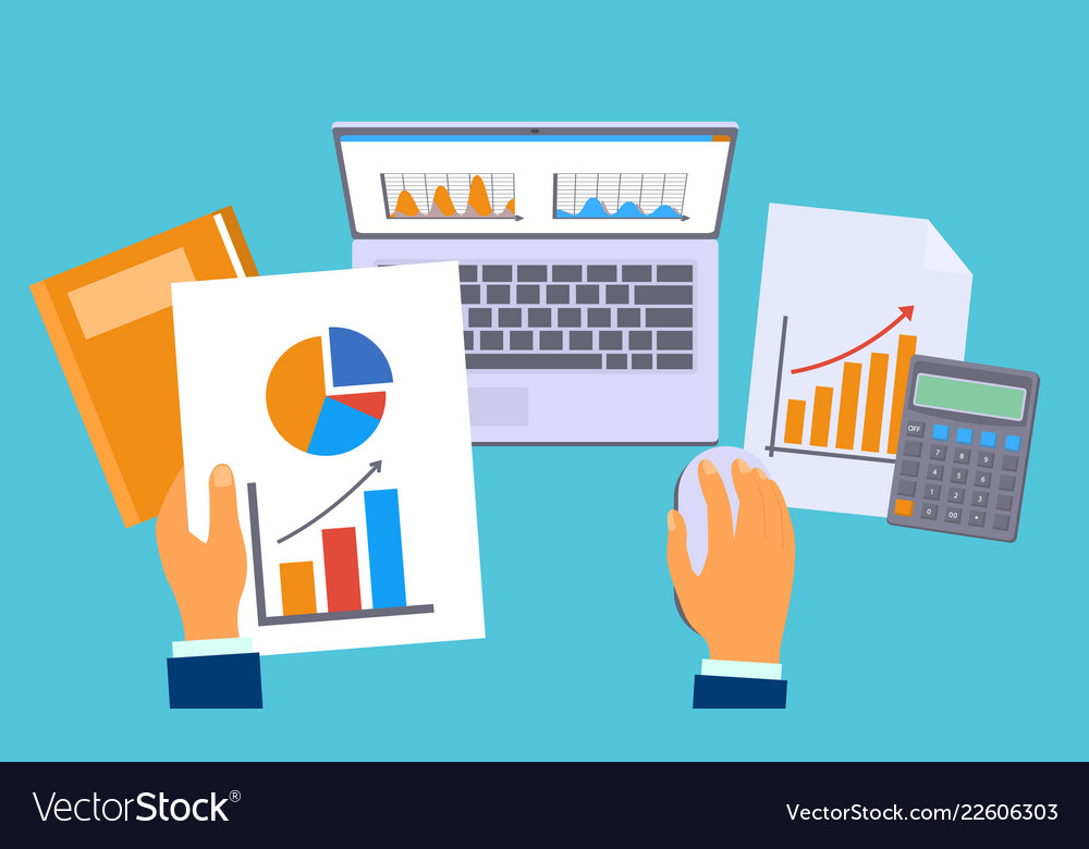 Accounting work graph concept background flat