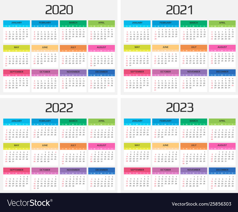 Calendar 2022 2023.Calendar 2020 2021 2022 2023 Template 12 Vector Image