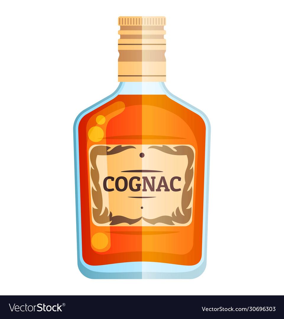 Cognac bottle party sign icon glass