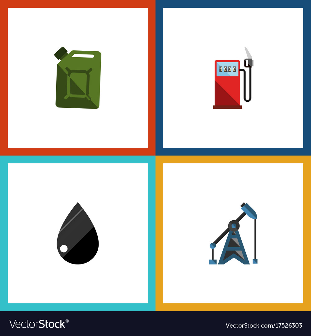 Flat icon oil set of petrol fuel canister vector image
