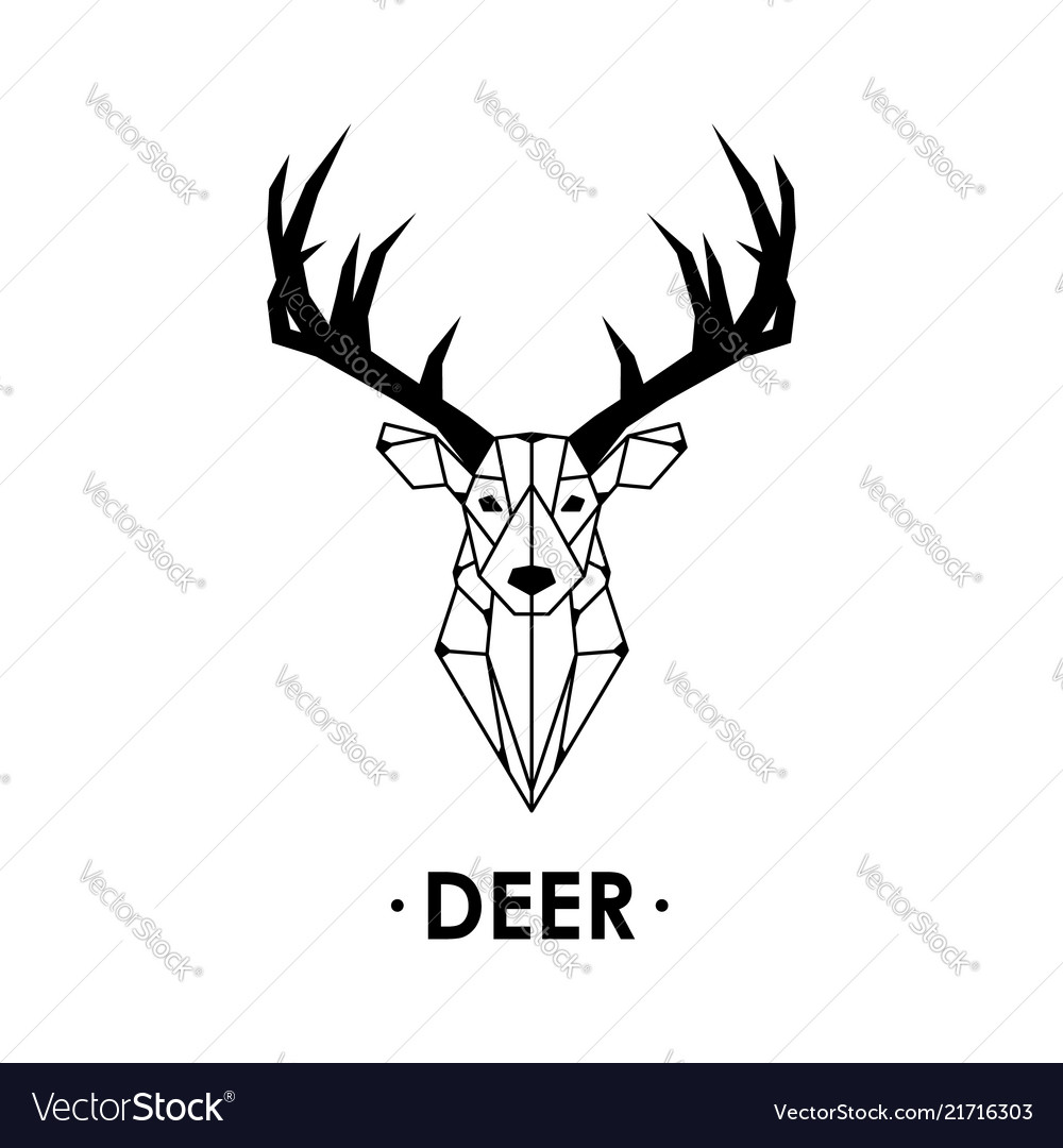Geometric deer isolated on white background