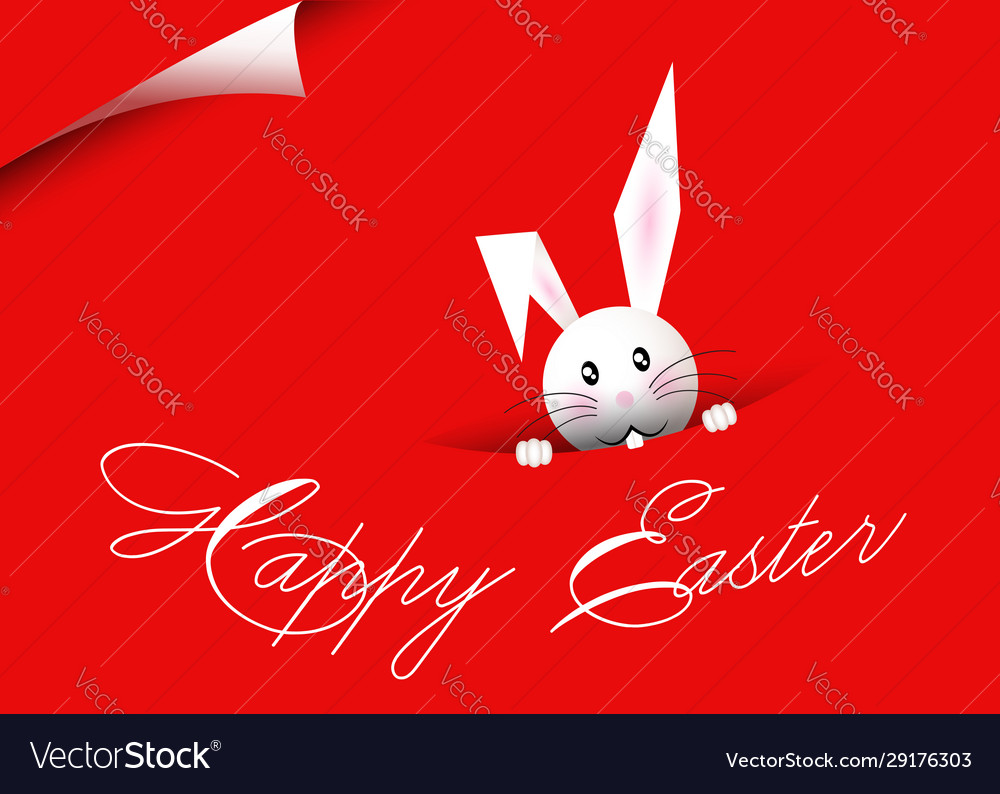 Happy easter bunny red background