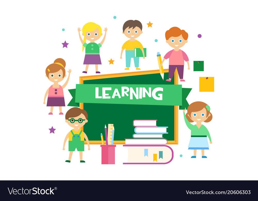 Learning happy schoolkids and blackboard kids
