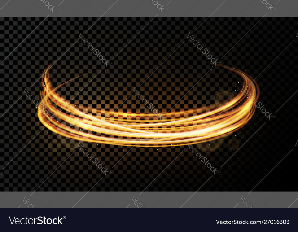 Light effect on transparent background golden