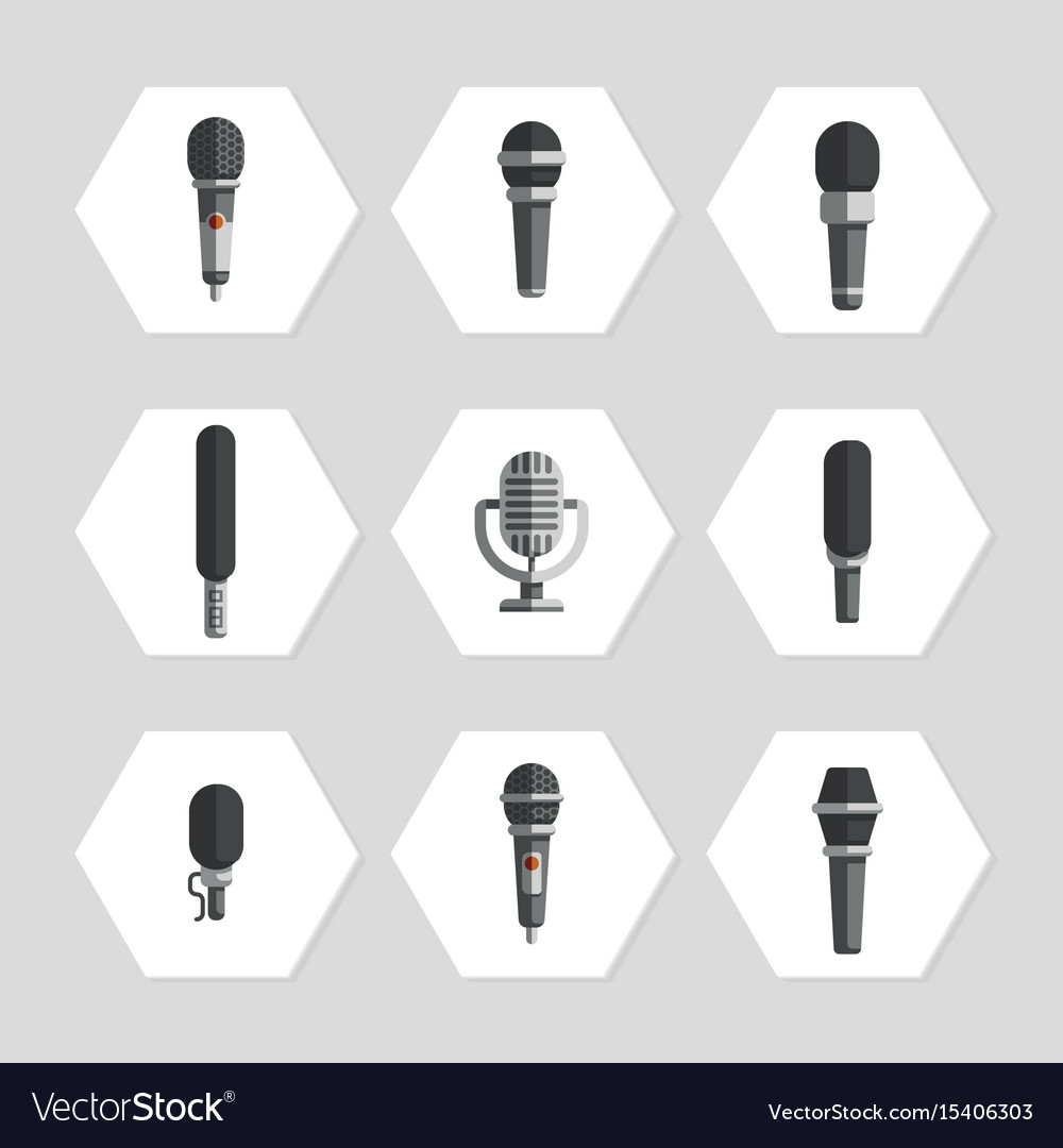Microphones icons - flat microphones icons set