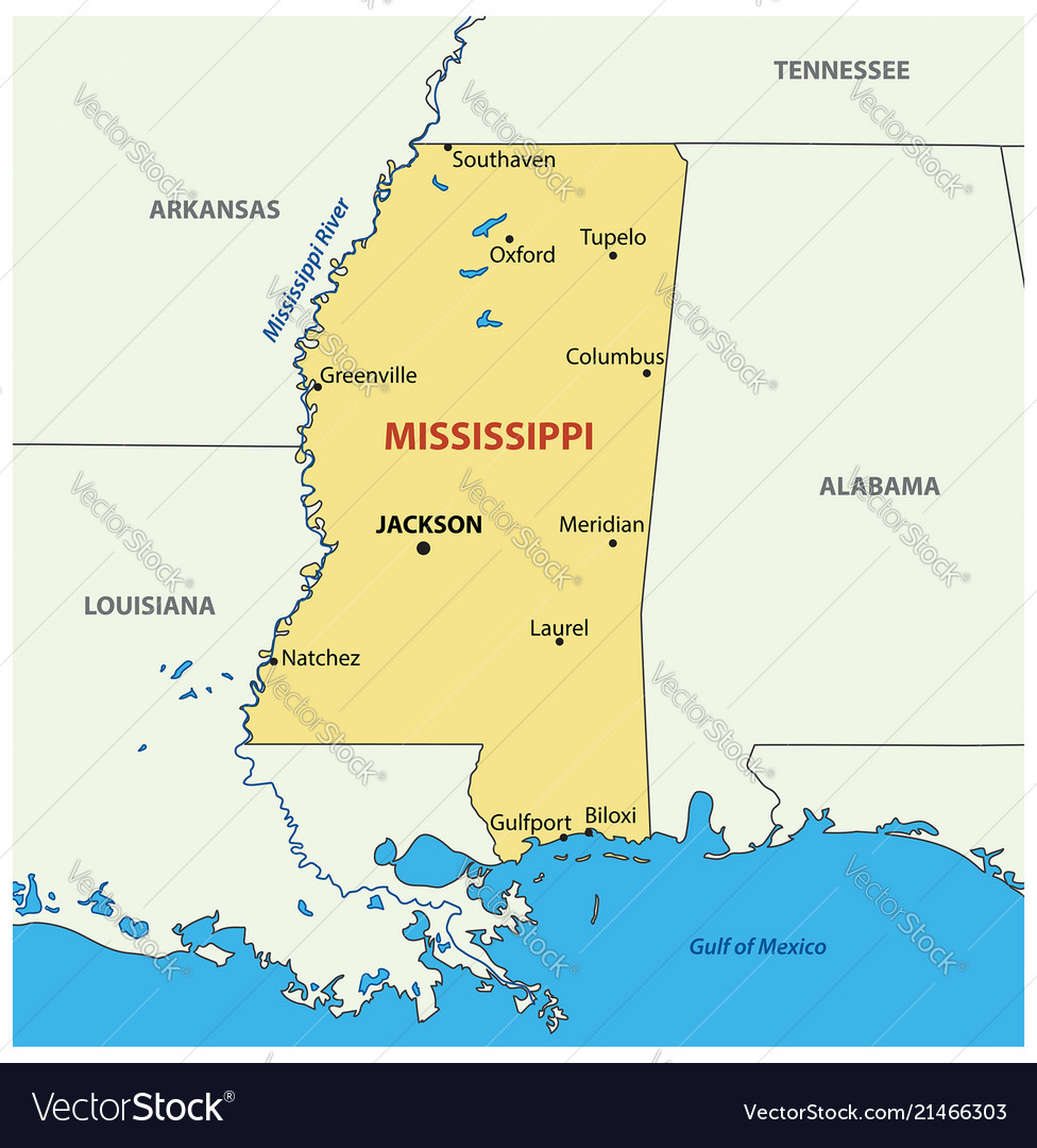 Mississippi - map vector image