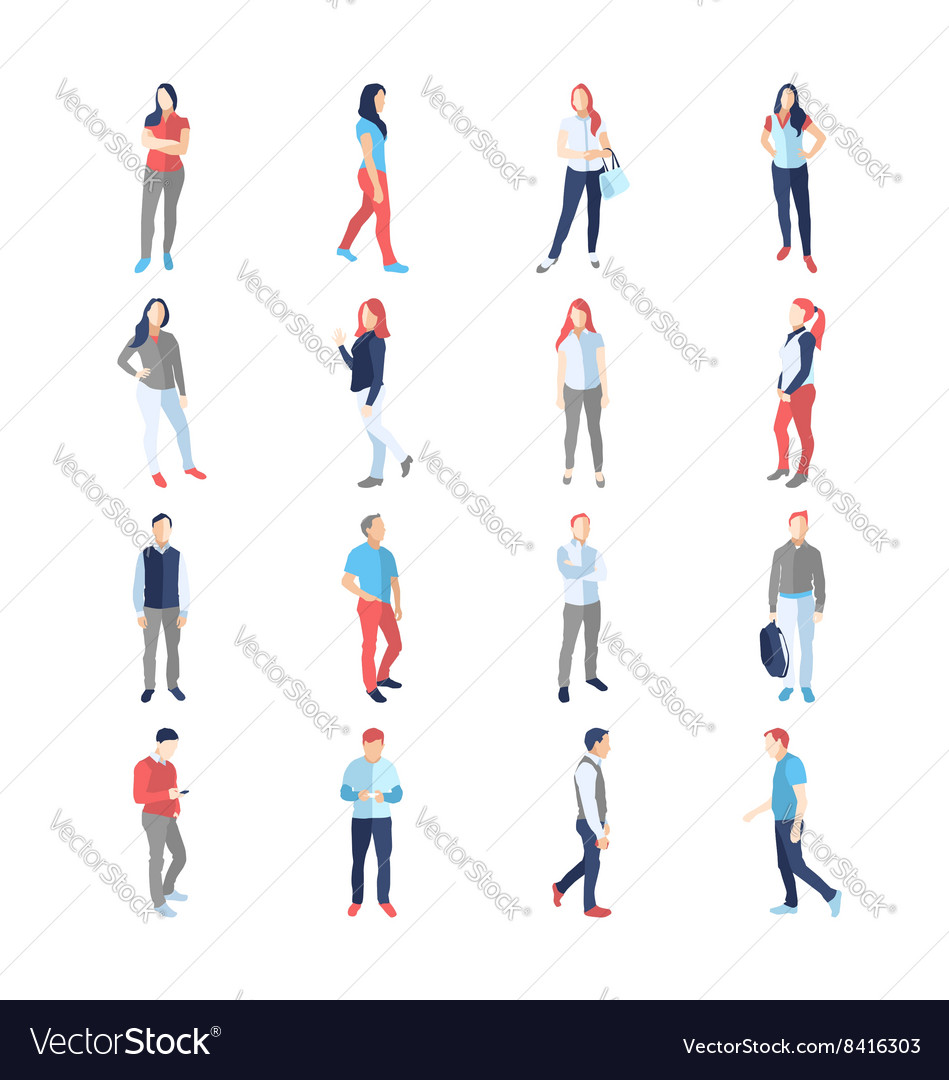 People male female in different casual common