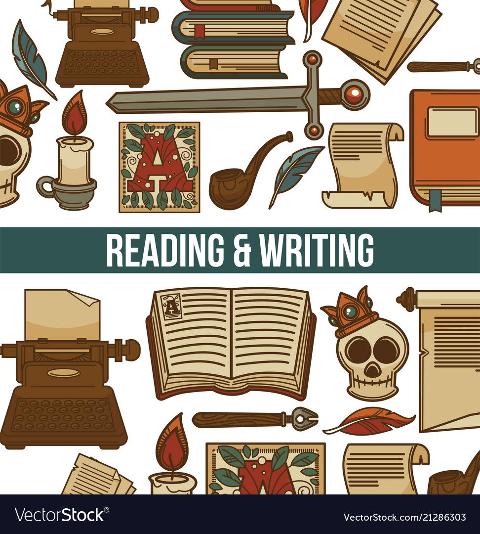 Reading and writing poster with books