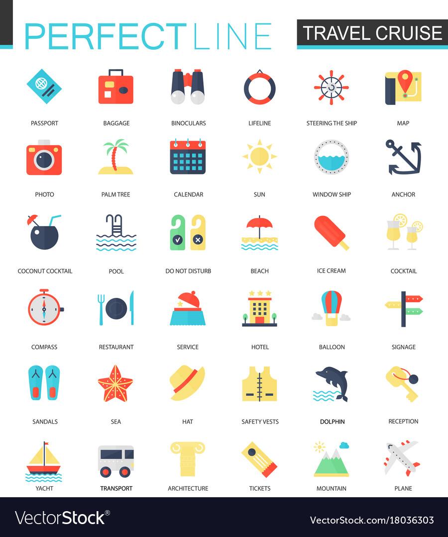 Set flat travel cruise icons