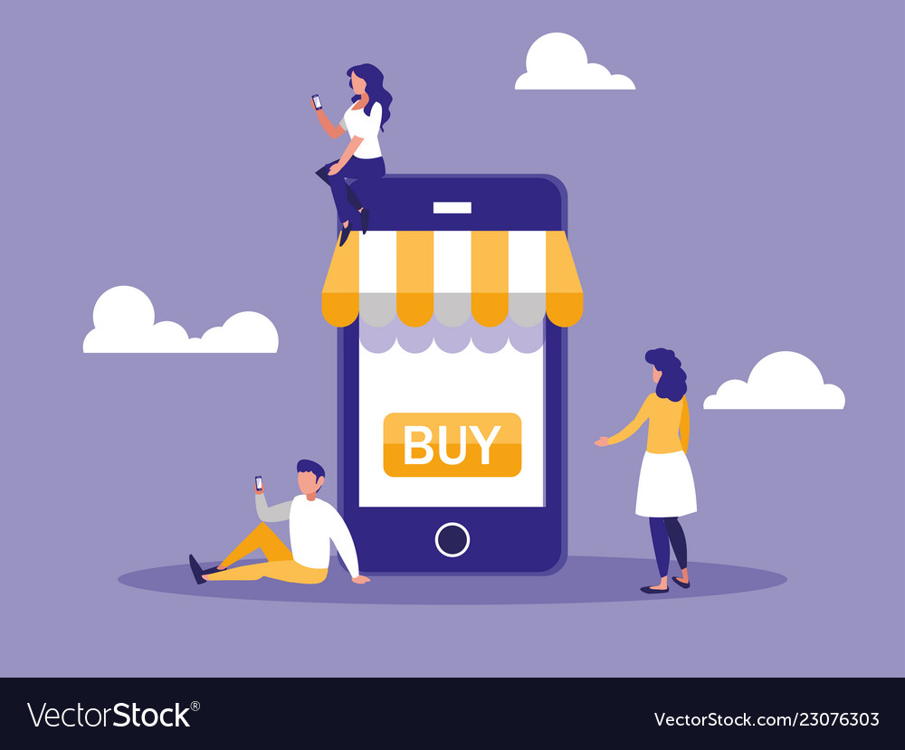 Shopping online with smartphone and mini people