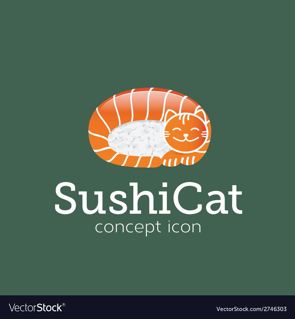 Sushi Cat Concept Symbol Icon or Logo Template