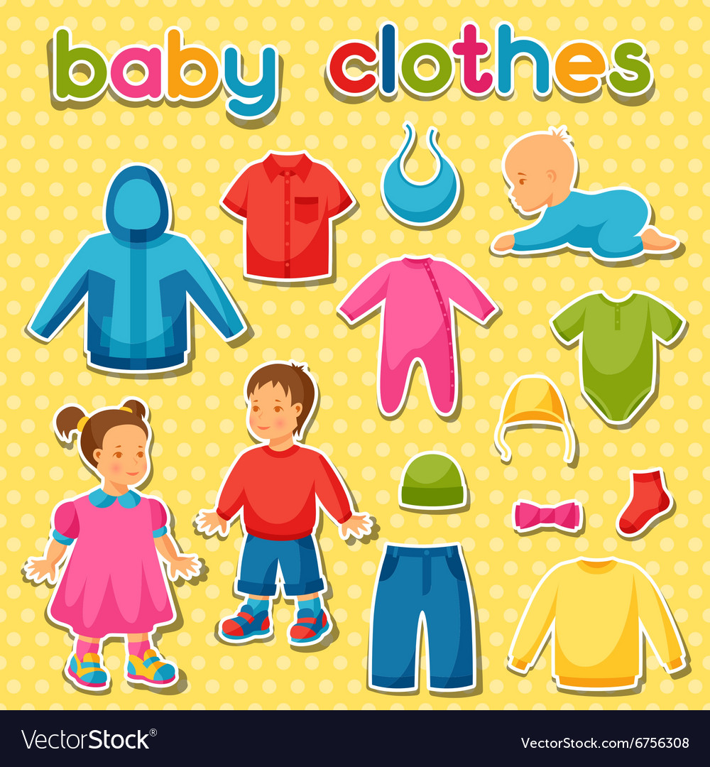 745df637b4289 Baby clothes Set of clothing items for newborns Vector Image