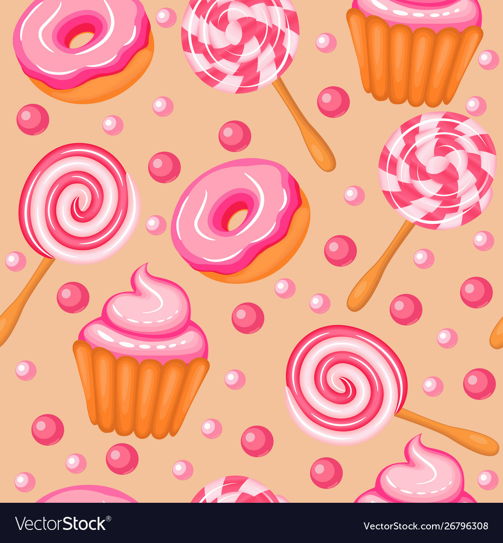 Background seamless sweet donuts candy cupcakes